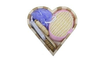 2 x BATH GIFT SET in HEART SHAPED WOOD CONTAINER bathroom present